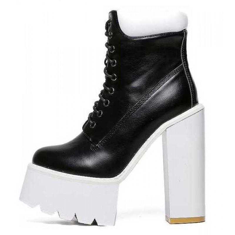 black platform shoe boots