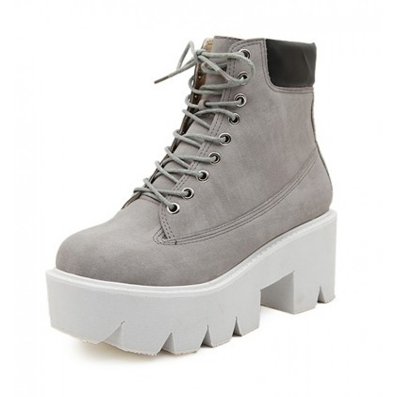 Grey Lace Up Chunky White Sole Block