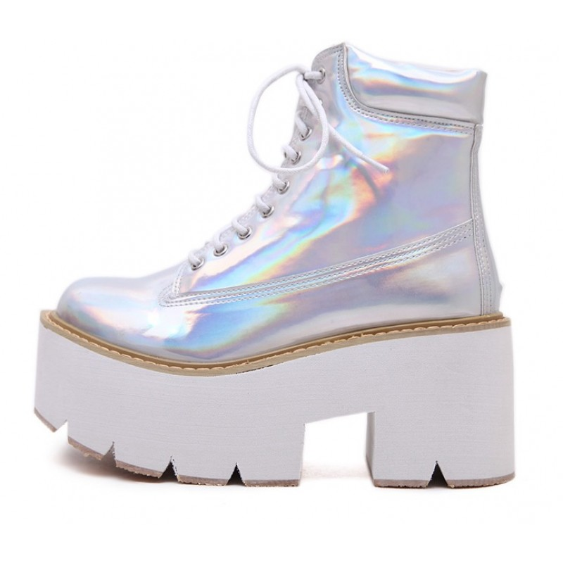 Silver Holographic Laser Lace Up Chunky