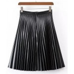 Black Pleated PU Faux Leather Quilted Mini Knee Skirt