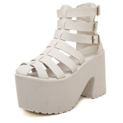 fcdcf0276a9 White Straps Gladiator Lolita Punk Rock Creepers Platforms High Heels  Sandals Shoes