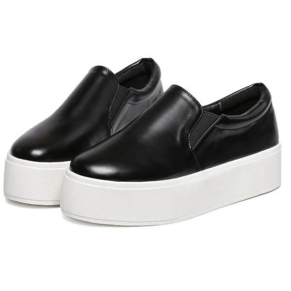 Black Leather Casual Sneakers Loafers Flats Shoes