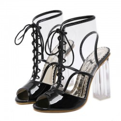 Transparent Black Patent Lace Up PU Peep Toe Glass High Heels Boots Shoes
