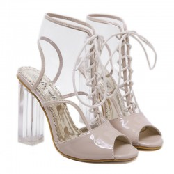 Transparent Khaki Patent Lace Up PU Peep Toe Glass High Heels Boots Shoes