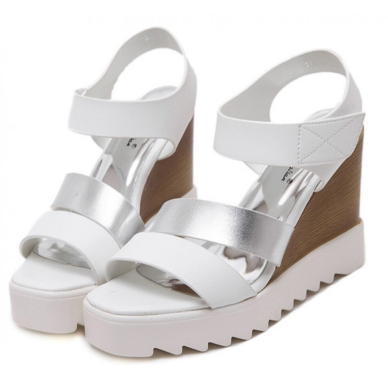 Shoes Silver Straps Sandals White Platforms Wedges K1clFJ