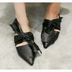 Black Big Bow Point Head Loafers Flats Shoes