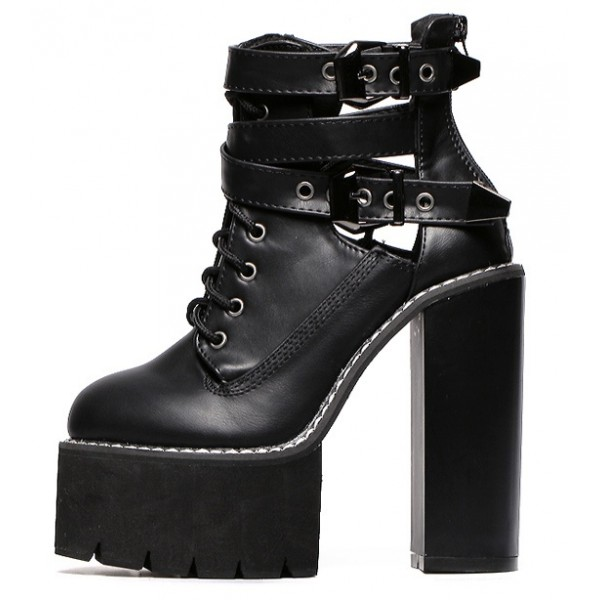 Black Gothic Punk Rock Straps Chunky Sole Block High Heels Platforms Boots Shoes