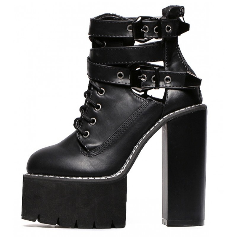 ca58df50167 Black Gothic Punk Rock Straps Chunky Sole Block High Heels Platforms Boots  Shoes