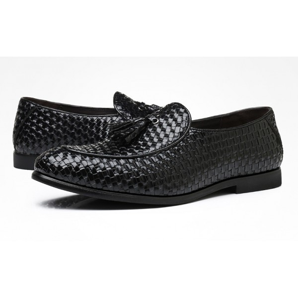 Black Knitted Leather Tassels Mens Oxfords Loafers Dress Business Shoes Flats