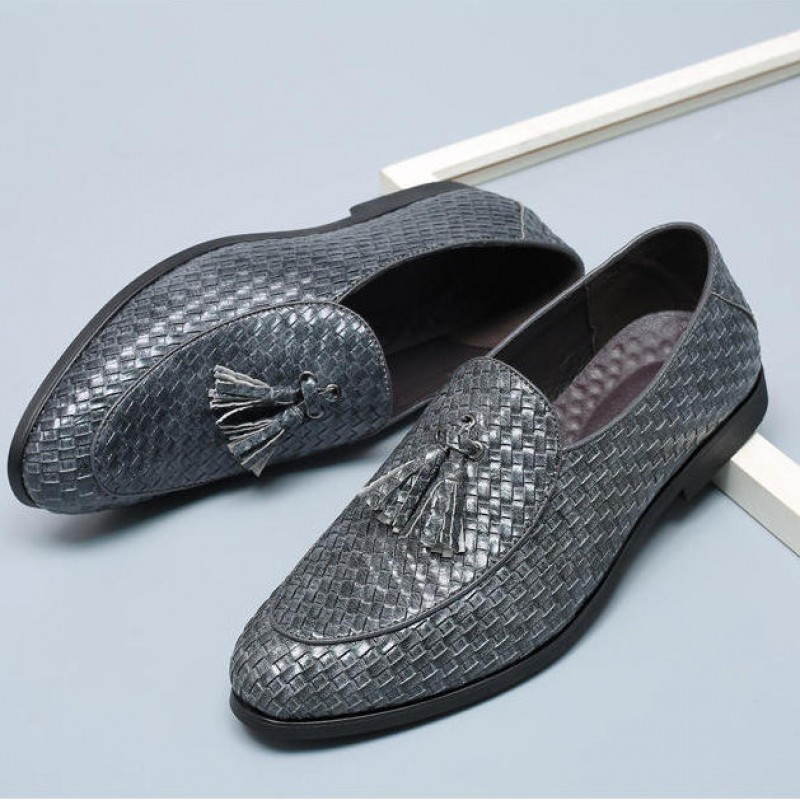 Grey Knitted Leather Tassels Mens