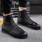 Black Lace Up High Top Mens Ankle Chelsea Boots Sneakers Shoes