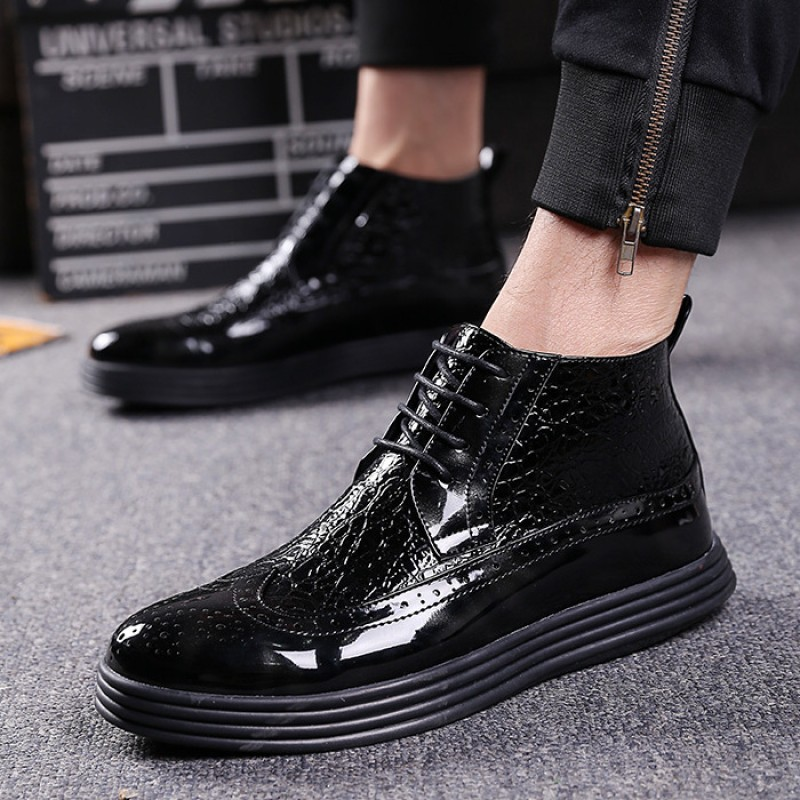 Black Patent Thick Sole Lace Up Mens