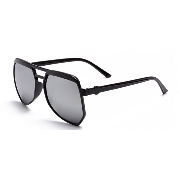 Black Oversized Pilot Rider Silver Mirror Polarized Lens Sunglasses