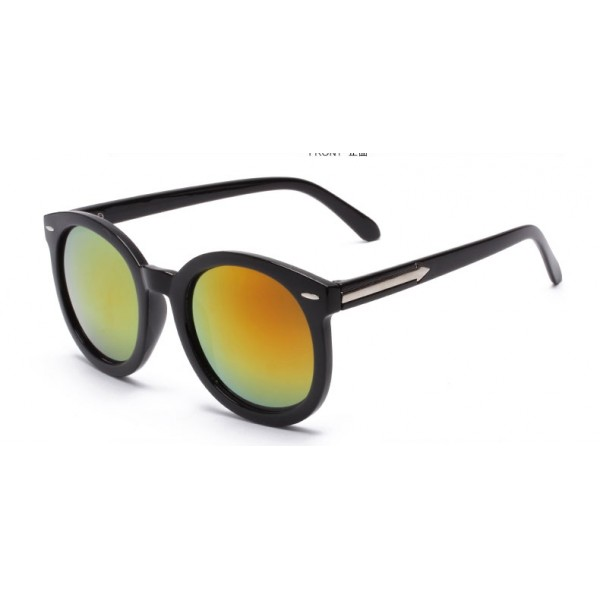 Black Round Arrow Arm Yellow Mirror Polarized Lens Sunglasses