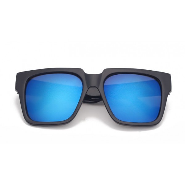 Black Oversized Blue Mirror Rectangular Polarized Mirror Lens Sunglasses