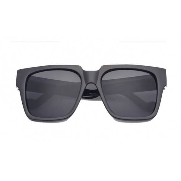 Black Oversized Rectangular Polarized Lens Sunglasses