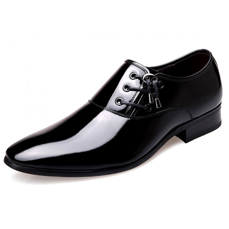 Black Patent Leather Glossy Side Lace Up Oxfords Flats