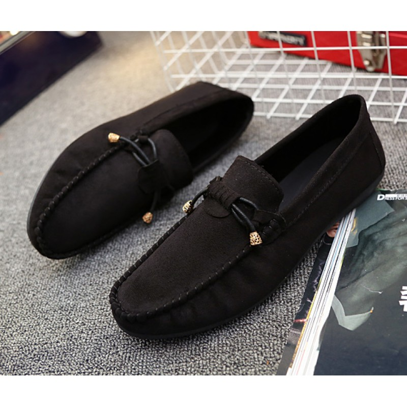 Black Suede Bow Mens Casual Loafers