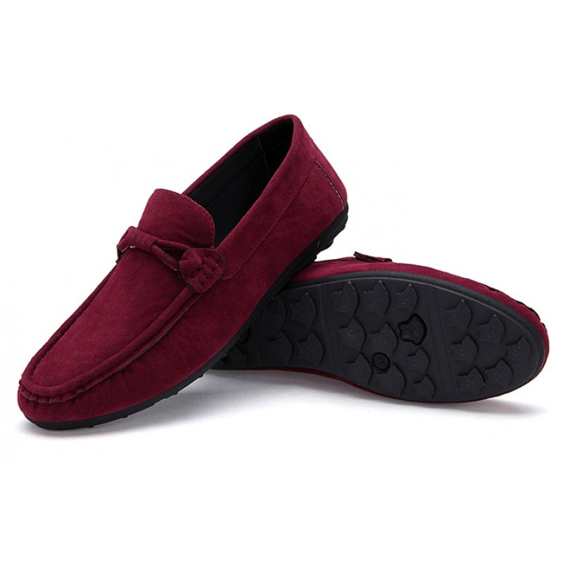 choose genuine professional quality design Burgundy Suede Mens Casual Loafers Flats Shoes