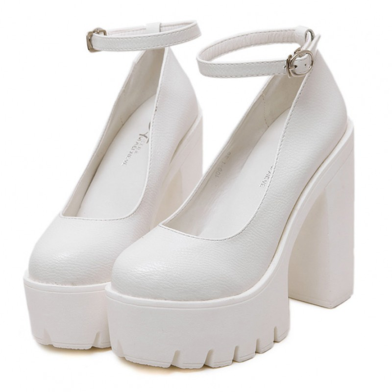 4a60dc3c025 White Chunky Cleated Platforms Sole Block High Heels Mary Jane Shoes