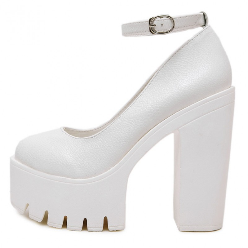 White Chunky Cleated Platforms Sole