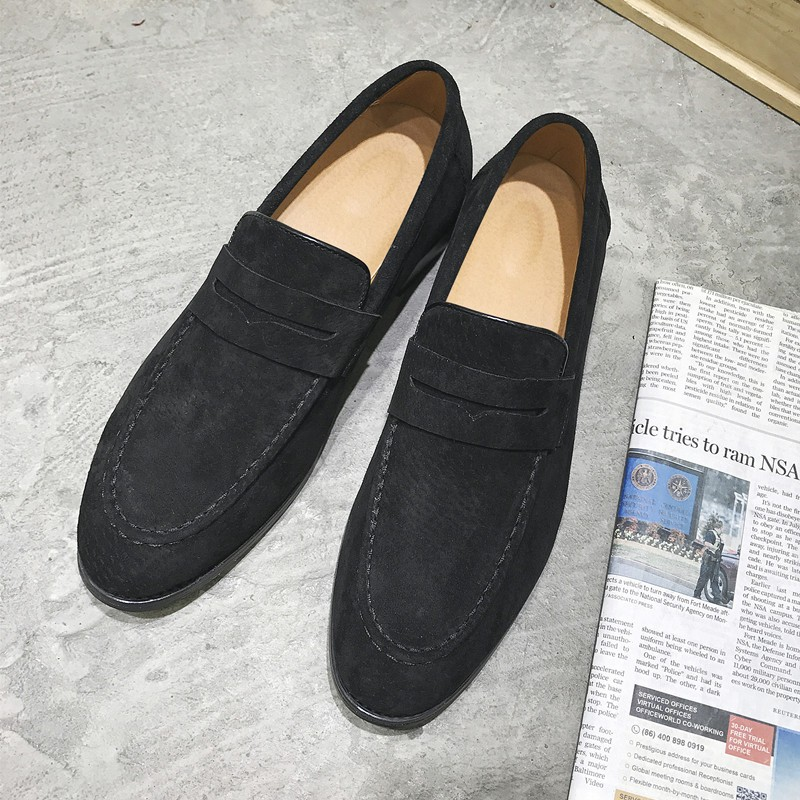 Black Suede Point Head Flats Loafers Dapper Mens Dappermen Shoes