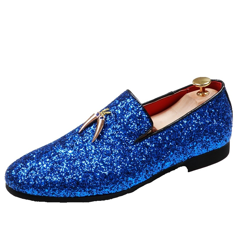 Blue Glitter Sparkle Gold Horn Mens