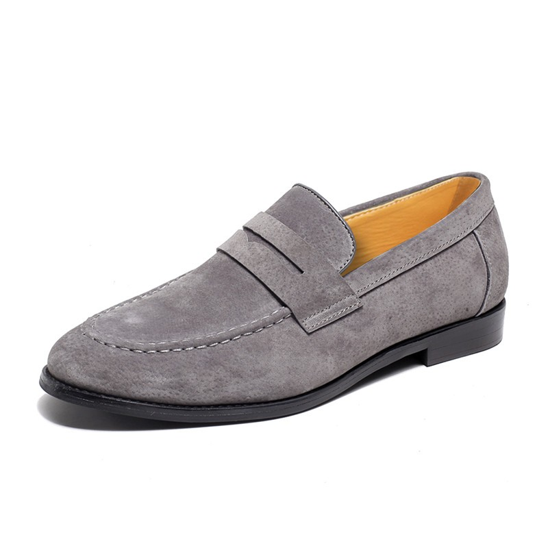 Grey Suede Point Head Flats Loafers