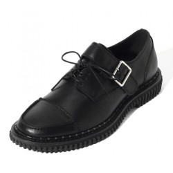 Black Buckle Leather Dapper Man Lace Up Mens Oxfords Dress Shoes